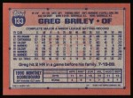 1991 Topps #133  Greg Briley  Back Thumbnail