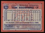 1991 Topps #151  Tom Browning  Back Thumbnail