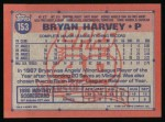 1991 Topps #153  Bryan Harvey  Back Thumbnail