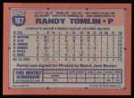 1991 Topps #167  Randy Tomlin  Back Thumbnail