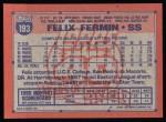 1991 Topps #193  Felix Fermin  Back Thumbnail