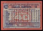 1991 Topps #206  Carlos Quintana  Back Thumbnail