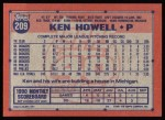 1991 Topps #209  Ken Howell  Back Thumbnail
