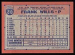 1991 Topps #213  Frank Wills  Back Thumbnail