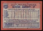 1991 Topps #227  Steve Avery  Back Thumbnail