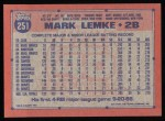 1991 Topps #251  Mark Lemke  Back Thumbnail