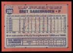 1991 Topps #280  Bret Saberhagen  Back Thumbnail