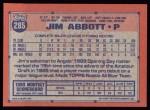 1991 Topps #285  Jim Abbott  Back Thumbnail