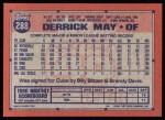 1991 Topps #288  Derrick May  Back Thumbnail