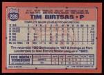 1991 Topps #289  Tim Birtsas  Back Thumbnail