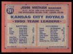 1991 Topps #291  John Wathan  Back Thumbnail