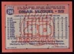 1991 Topps #298  Omar Vizquel  Back Thumbnail