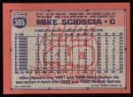 1991 Topps #305  Mike Scioscia  Back Thumbnail