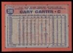 1991 Topps #310  Gary Carter  Back Thumbnail