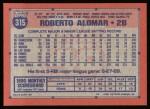1991 Topps #315  Roberto Alomar  Back Thumbnail
