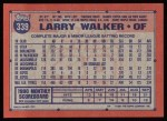 1991 Topps #339  Larry Walker  Back Thumbnail