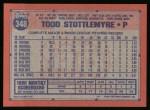 1991 Topps #348  Todd Stottlemyre  Back Thumbnail
