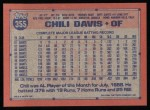 1991 Topps #355  Chili Davis  Back Thumbnail
