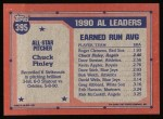 1991 Topps #395   -  Chuck Finley All-Star Back Thumbnail