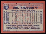 1991 Topps #417  Bill Krueger  Back Thumbnail