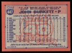 1991 Topps #447  John Burkett  Back Thumbnail