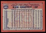1991 Topps #465  Ken Griffey  Back Thumbnail