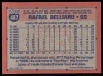 1991 Topps #487  Rafael Belliard  Back Thumbnail