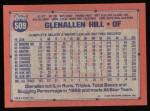 1991 Topps #509  Glenallen Hill  Back Thumbnail
