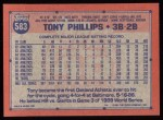 1991 Topps #583  Tony Phillips  Back Thumbnail