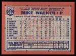 1991 Topps #593  Mike Walker  Back Thumbnail