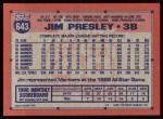 1991 Topps #643  Jim Presley  Back Thumbnail