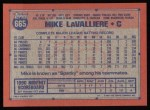 1991 Topps #665  Mike LaValliere  Back Thumbnail