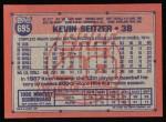 1991 Topps #695  Kevin Seitzer  Back Thumbnail