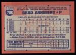 1991 Topps #706  Brad Arnsberg  Back Thumbnail