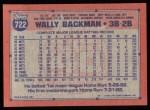 1991 Topps #722  Wally Backman  Back Thumbnail