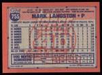 1991 Topps #755  Mark Langston  Back Thumbnail