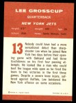1963 Fleer #13  Lee Grosscup  Back Thumbnail