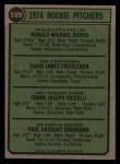 1974 Topps #599 LG  -  Dave Freisleben / Ron Diorio / Frank Riccelli / Greg Shanahan Rookie Pitchers   Back Thumbnail