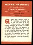 1963 Fleer #61  Wayne Hawkins  Back Thumbnail