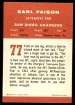 1963 Fleer #77  Earl Faison  Back Thumbnail