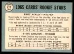 1965 Topps #477   -  Steve Carlton / Fritz Ackley Cardinals Rookies Back Thumbnail