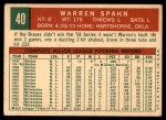 1959 Topps #40 B Warren Spahn  Back Thumbnail
