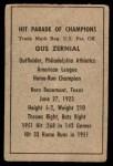1952 Berk Ross  Gus Zernial  Back Thumbnail