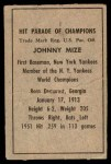 1952 Berk Ross  Johnny Mize  Back Thumbnail