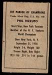 1952 Berk Ross SWG Phil Rizzuto  Back Thumbnail