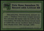 1982 Topps #4   -  Pete Rose  Highlights Back Thumbnail