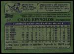 1982 Topps #57  Craig Reynolds  Back Thumbnail