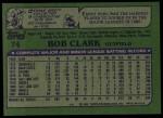 1982 Topps #74  Bob Clark  Back Thumbnail