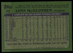 1982 Topps #85  Lynn McGlothen  Back Thumbnail