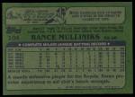 1982 Topps #104  Rance Mulliniks  Back Thumbnail